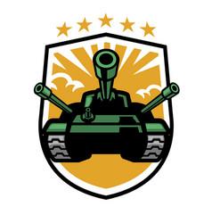Military tank mascot in shield format vector