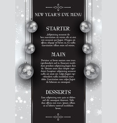 New years eve menu design vector