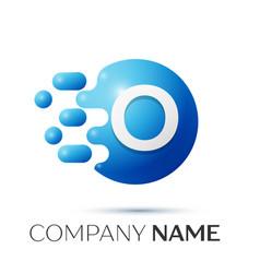 O letter splash logo blue dots and circle bubble vector