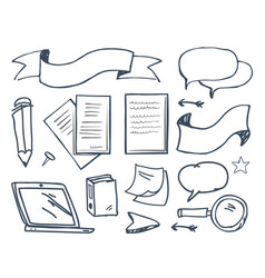 office paper and pencil with pin icons vector image