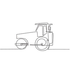 one single line drawing harvester tractor vector image