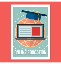 Online education poster wit vintage vector image