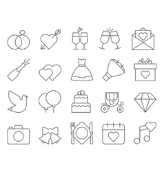 Outline web icon set - wedding vector