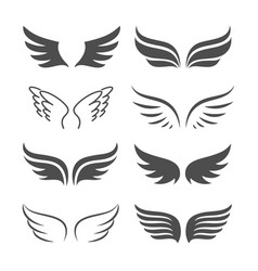 Pair monochrome wings icon set vector