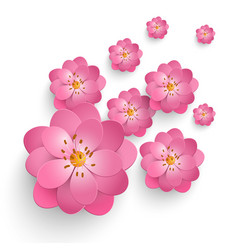 Paper cut sakura flowers floral vector