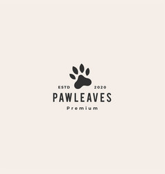 paw leaf leaves hipster vintage logo icon vector image