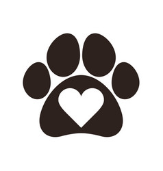 Paw print with heart vector