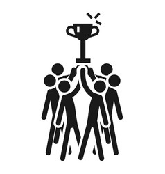 People cooperation win cup icon simple style vector