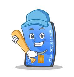 Playing baseball credit card character cartoon vector