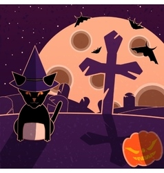 Purple and orange halloween landscape vector