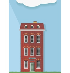 red brick house on a light background vector image