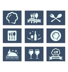 restaurant food icons set vector image