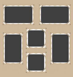 retro photo frame empty template set vector image