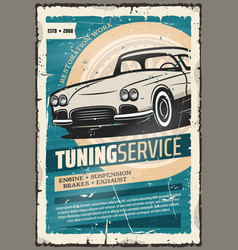 Retro poster for car tuning auto service vector