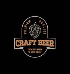retro vintage hipster craft beer store label logo vector image