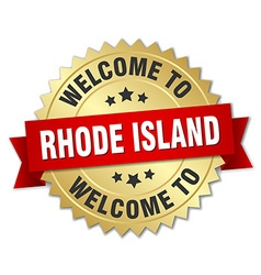 Rhode Island 3d gold badge with red ribbon vector image