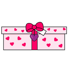 romantic gift box love present icon vector image