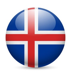 Round glossy icon of iceland vector image