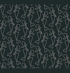 Seamless pattern made of linear mermaids vector