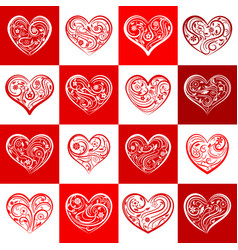 seamless pattern of squares with hearts vector image