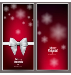 Set of Elegant Red Christmas banners with vector image
