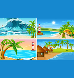 set tropical ocean nature scenes with beaches vector image