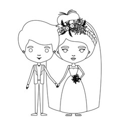 silhouette caricature newly married couple groom vector image