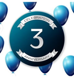 Silver number three years anniversary celebration vector