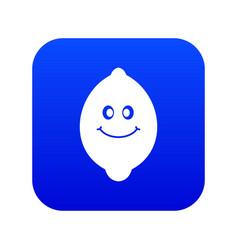 smiling lemon fruit icon digital blue vector image