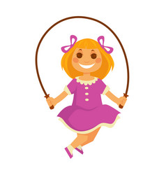 Smiling small girl jumps with skipping rope vector