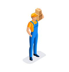 Sometric man in uniform hold many cardboard boxes vector