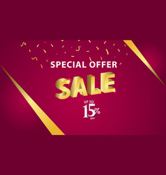 Special offer sale up to 15 off template design vector