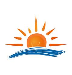 Sun and sea logo icon vector