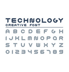 technology creative font trendy english vector image