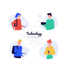technology - flat design style characters vector image