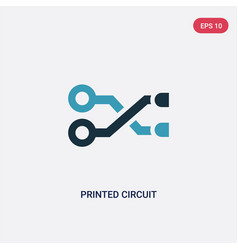 Two color printed circuit connections icon from vector