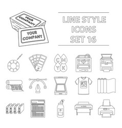 typography set icons in outline style big vector image