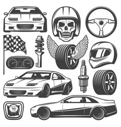 Vintage car racing icons set vector