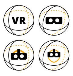 vr icons in sphere flat vector image