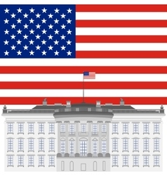 White house and the us flag vector