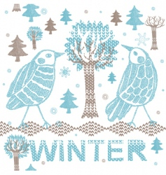Winter knitting scene vector