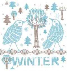 winter knitting scene vector image