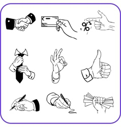Hand gestures - business set vector image vector image