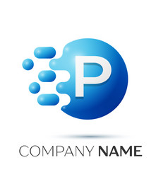 P letter splash logo blue dots and circle bubble vector
