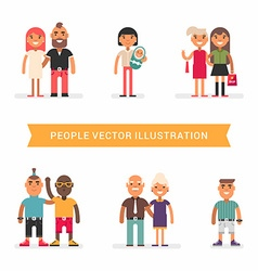 People of different age and status Couples friends vector image