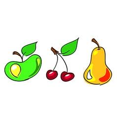 apple cherry pear vector image