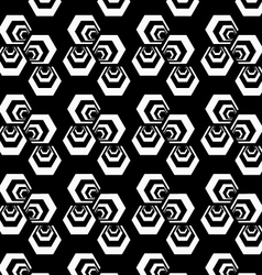Black and white striped three turned hexagons vector image vector image