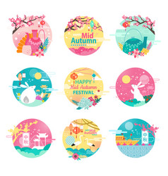 happy mid autumn festival isolated round emblems vector image vector image