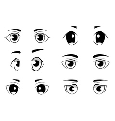 Set of anime style eyes isolated on white vector image vector image