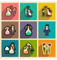 Set of flat web icons with long shadow bride and vector